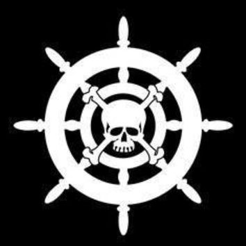 Skull Pirate Ship Wheel Ocean  Vinyl Car/Laptop/Window/Wall Decal