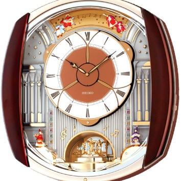 0-010561>Seiko Melodies in Motion Musical Wall Clock Brown