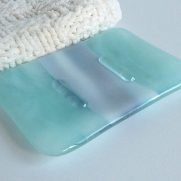 Fused Glass Soap Dish in Streaky Aqua and Blues
