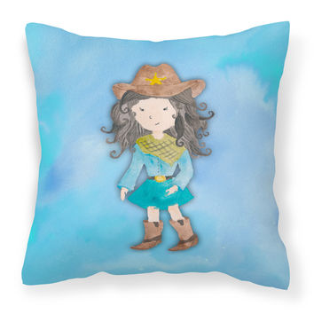 Cowgirl Watercolor Fabric Decorative Pillow BB7367PW1414