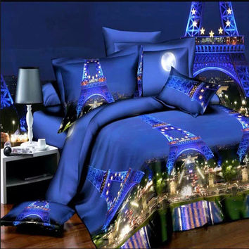 4pcs Suit 3D Paris Night Scene Reactive Dyeing Polyester Fiber Bed Sets Quilt Cover Queen King Size