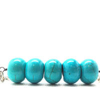 Turquoise Bar Necklace, Sterling Silver