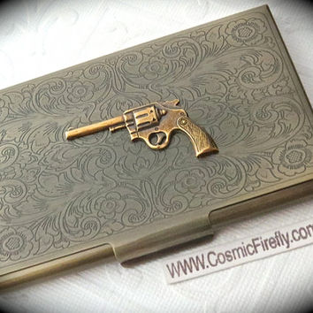 Wild West Gun Card Holder Antiqued Brass Business Card Case Victorian Steampunk Card Holder Cowboy Gun Card Case Filigree Scrollwork Design
