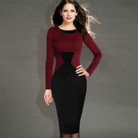 New Womens Elegant Vintage Houndstooth Colorblock Tunic Wear To Work Business Casual Party Bodycon Pencil Dress 461