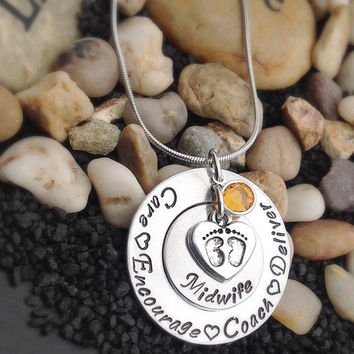 Midwife Personalized Jewelry Necklace - Midwife Gift: Care - Encourage - Coach - Deliver
