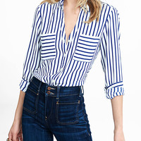 Slim Fit Navy And White Striped Portofino Shirt from EXPRESS