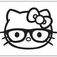 Hello Kitty Nerd Sticker Decal. Black