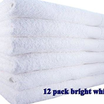 "12 Pack Bath Towel (24""x 48"") white Ringspun Cotton for Maximum Softness Easy Care"