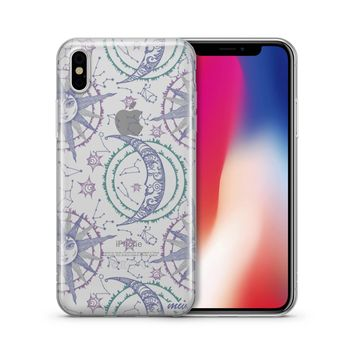 Henna Crescent Sun And Moon - Clear TPU Case Cover f2bed4367840