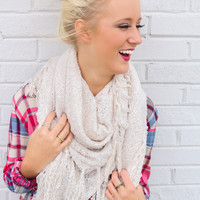 Wishful Thinking Marled Open Knit Blanket Scarf With Tassel Fringe Hem