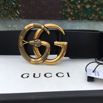 Cheap Men's Authentic Gucci Black Leather Belt w/ Gold GG Snake Buckle 95/38 32-34