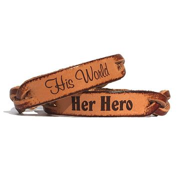 Her Hero and His World Leather Bracelets