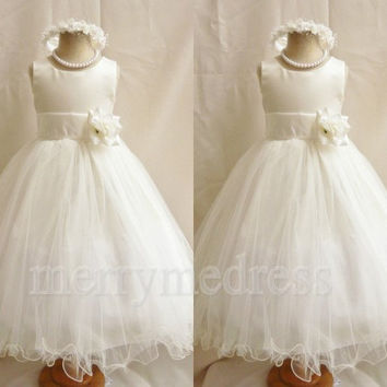White Crew Wide Straps Flower Long Ball Gown Flower Girl Dress, Ankle Length Tulle Formal Evening Party Prom Dress New Homecoming Dress
