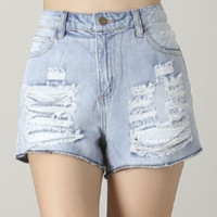 Distressed Light Blue Denim High Waisted Shorts