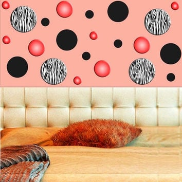Zebra Stripe Wall Decals Polka Dots Zebra Print Circles Red Girls Room Decor ...