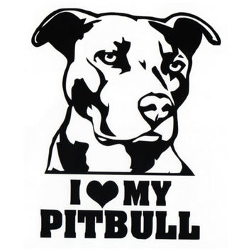 13CM*15.5CM  I LOVE MY PITBULL Vinyl Decal Sticker Car Motorcycle Car Styling C8-0006
