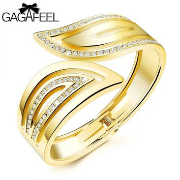GAGAFEEL Cuff Bracelets Women Bangles Unique Laser Engrave Bracelet Cooper Bangle Wrap Watch Gold Color Jewelry