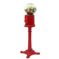 Vintage Miniature Gumball Machine - Red Metal & Glass Standing 1:12 1/12 scale Candy Machine on Stand - Doll House General Store Miniature
