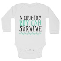 A Country Boy Can Survive Funny Backwood Hillbilly Kids bodysuit