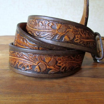 Tooled Leather Belt country western Justin belt rustic brown tan removable buckle oak leaves acorns vintage 70s men size 42 large