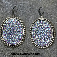 Pink Panache Oval Earrings with Solid Topaz Crystals
