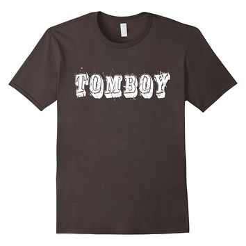 TOMBOY Tee with distressed white text