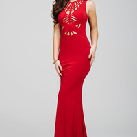 Red Sleeveless Fitted Prom Dress 21494