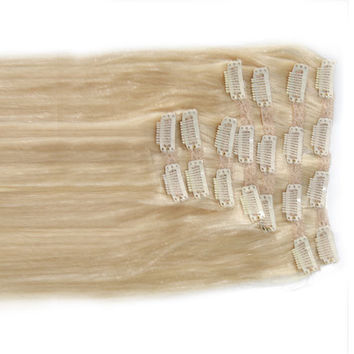 "Spotlight Platinum:  21"" Clip In 100% Human Hair Extensions"