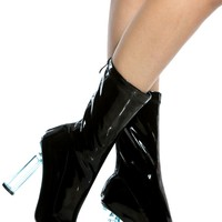 Black Patent Leather Calf Length Translucent Heels @ Cicihot Heel Shoes online store sales:Stiletto Heel Shoes,High Heel Pumps,Womens High Heel Shoes,Prom Shoes,Summer Shoes,Spring Shoes,Spool Heel,Womens Dress Shoes