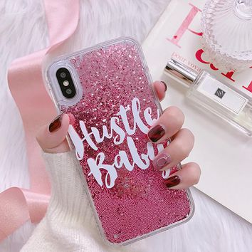 Cool girl quicksand Glitter Case for iphone X 7 7Plus Dynamic liquid Case For iphone 6 6s 6Plus 8 8plus back cover