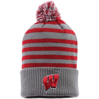 Wisconsin Badgers Top of the World Rock Cuffed Knit Hat with Pom – Gray