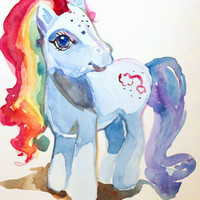 "My Little Pony Watercolor Painting, ""Rainbow Dashy"""