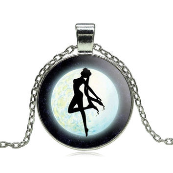 Anime Sailor Moon Glass Cabochon Pendant Necklace Tibetan silver vintage jewelry Statement Chain Necklace for Women Girl Gift