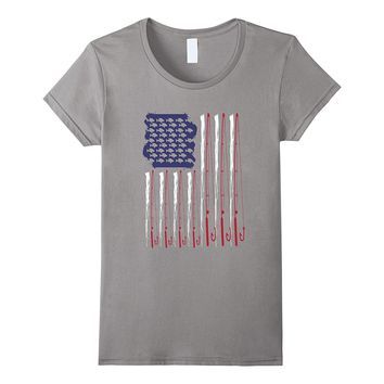 American Flag Fishing T Shirt - Fish and Rods For Fishermen