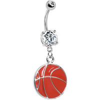 Crystalline Gem Basketball Belly Ring | Body Candy Body Jewelry