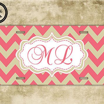 Monogrammed car tag - Pink coral with nude chevron front license plate - monogram chevron car tag, front license plate vanity (1017)