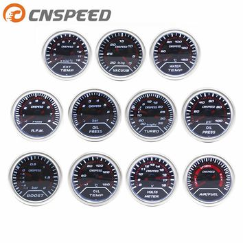 "CNSPEED 2"" 52mm Car boost gauge bar psi Exhaust gas temp water temp oil temp oil press Air fuel gauge voltmeter tachometer"