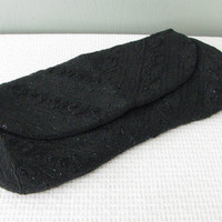Beaded Black 60's Evening Clutch by Lester Bags