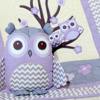 Organic Owl Quilt, Baby  Crib Bedding, Kids Blanket, Owl Pillow,  purple, grey chevron