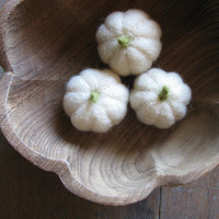 Felted wool white pumpkins for Halloween and Harvest, for waldorf children or natural home decor, set of 3