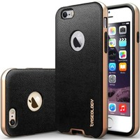 iPhone 6 Case, Caseology® [Envoy Series] Premium Leather Bumper Cover [Black] [Leather Bound] for Apple iPhone 6 (2014) & iPhone 6S (2015) - Black