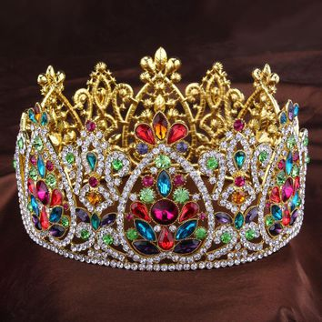 3.5in Height Big King Queen Gold Full Crowns Rhinestone Tiaras