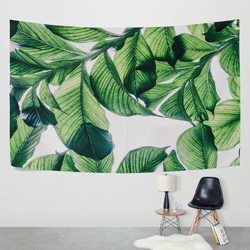 Green  Banana Leaf Tapestry Wall Hanging  Tropical Palm Forest Wall Decor Art