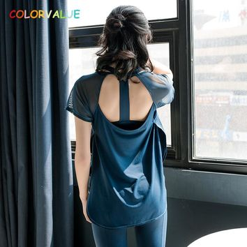 Colorvalue Back Open Design Workout Sport T-shirt Women Lace Patchwork Training Fitness Short Sleeve Shirt Loose Yoga Gym Tee