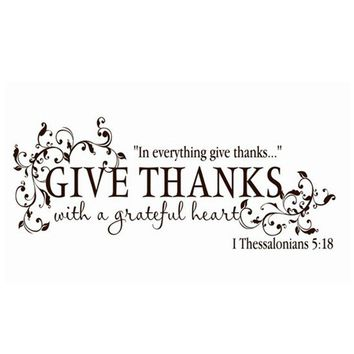 """Give Thanks With a Grateful Heart ""Thanksgiving Vinyl Wall Art Sticker"