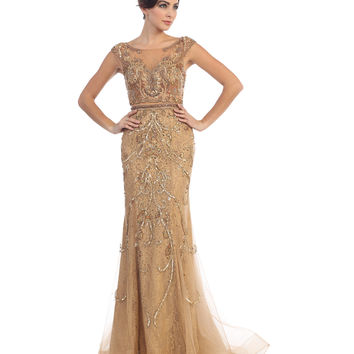 Preorder -  Bronze Nude Fitted Embellished Lace Long Dress 2016 Prom Dresses