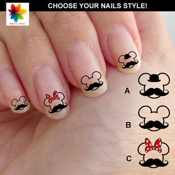 Mustache nail, Disney nail art, cartoon, childrens nail art, mickey mouse, 60 Waterslide stickers Decal Nail, crystal clear background,