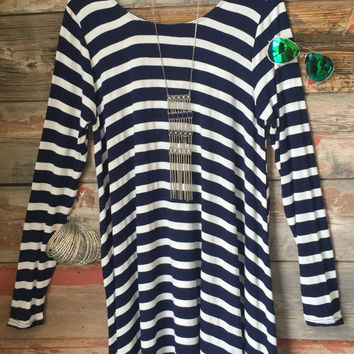 Addicted to you Striped Swing Dress: Navy