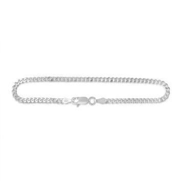 Sterling Silver Cuban Chain Curb Link Bracelet 3mm Italy 10 inch