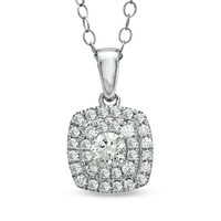 1/4 CT. T.W. Diamond Double Square Frame Pendant in 14K White Gold